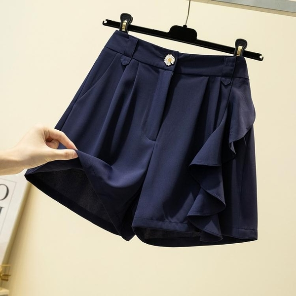 大尺碼女裝大碼女裝2020夏季胖妹妹新款純色高腰A字闊腿褲顯瘦短褲百搭熱褲