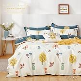 《DUYAN 竹漾》100%精梳純棉雙人加大床包被套四件組-米谷微光