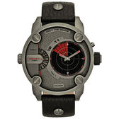 DIESEL 探險家二地時間雷達個性腕錶-皮帶/鐵灰紅
