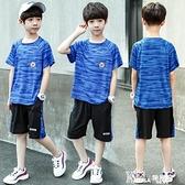 男童套裝-男童夏裝2021新款套裝兒童夏季洋氣運動兩件套中大童速干大碼童裝