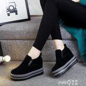 樂福鞋女2019新款冬季韓版百搭松糕底加絨一腳蹬厚底內增高懶人鞋  【PINK Q】