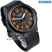 CASIO卡西歐MW-240-4B簡約指針錶 撞色數字圓錶 橡膠錶帶 橘黑色 MW-240-4BVDF  防水手錶 男錶 日本機芯