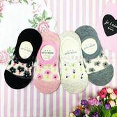 【KP】韓國 22-26cm 透膚 可愛 花朵 腳後跟止滑 黑 粉 膚 灰 成人襪 短襪 襪子 DTT100007726