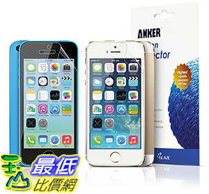 [106美國直購] Anker Anti-Glare Anti-Fingerprint Screen Protector for iPhone 5S/5C/5[3-Pack]螢幕保護貼