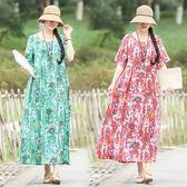 洋裝 連身裙 夏裝新款棉麻連衣裙復古民族風 中大尺碼  印花文藝休閒寬鬆顯瘦長裙女