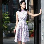 旗袍 JUJU定制 復古 荷花印花 改良旗袍 小清新荷花文藝風格連衣裙 快速出貨