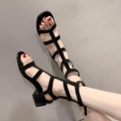 促銷全場九折 粗跟涼靴女春夏新款鏤空時尚百搭中筒靴子網紅后拉鏈羅馬涼鞋