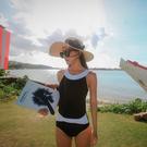 Qmigirl 泳裝【WET371】經典黑白色潮混搭連身女游泳衣優雅遮肚顯瘦保守泳衣 溫泉 沙灘 BIKINI