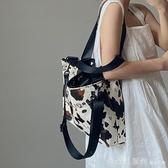 單肩包 奶牛紋大容量手提女包INS大熱單肩斜跨大包托特包 雙12狂歡購