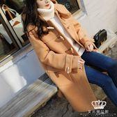 毛呢外套 牛角扣秋冬新款日系學院風女中長款寬松學生呢子大衣