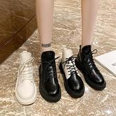 小短靴女秋季時尚平底休閑系帶ins潮馬丁靴學院風復古低幫單靴酷