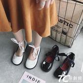 娃娃鞋/日系復古娃娃鞋女新款淺口平底綁帶小皮鞋百搭軟妹單鞋