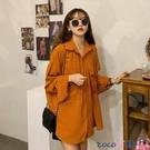 熱賣垂感襯衫 橘色垂感襯衫女設計感復古港味春季秋2021新款寬鬆襯衣長袖上衣服 coco