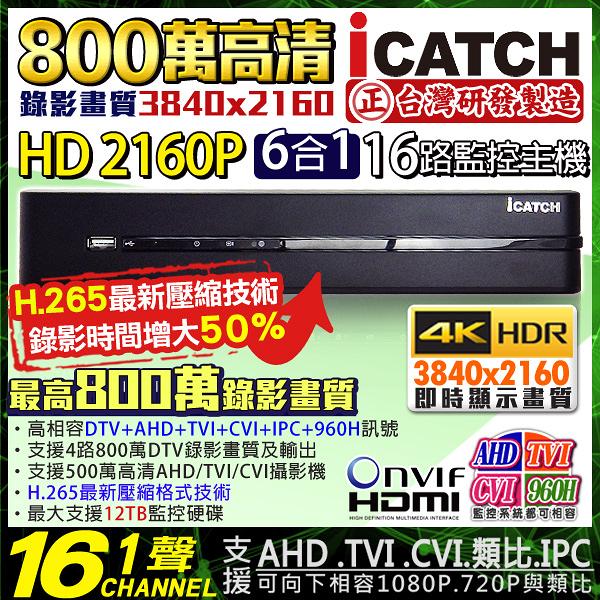 監視器攝影機 KINGNET 可取 iCATCH H.265 800萬 16路1聲監視器主機 DVR 2160P 支援DTV/AHD/TVI