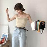2019夏季韓版修身內搭吊帶白色針織衫小背心女外穿短款打底衫上衣CY 酷男精品館