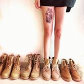 機車馬丁靴女新款夏季短靴英倫風平底學生復古韓版百搭女靴子  Cocoa