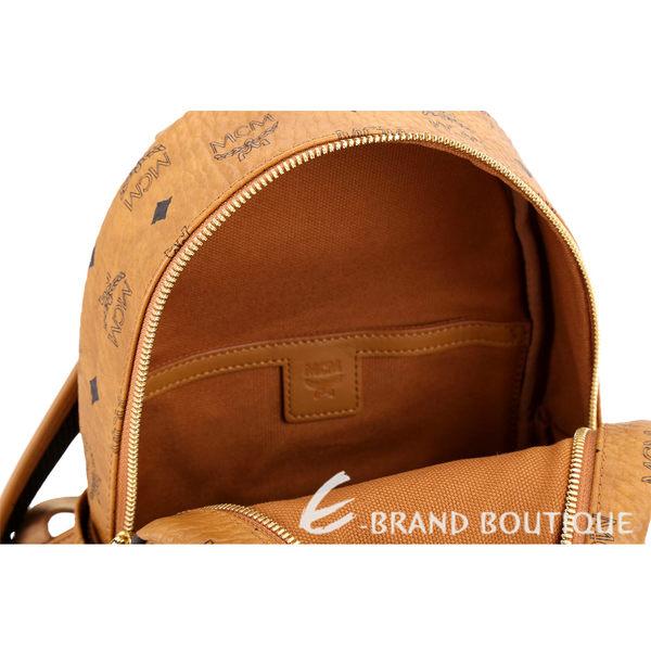 MCM Stark Rabbit 迷你款 兔子印花品牌塗層帆布後背包(棕色) 1840738-B3