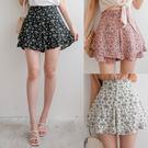 雪紡 MIUSTAR 側拉鍊雙層荷葉小花雪紡褲裙(共3色,M-L)【NH2036】預購