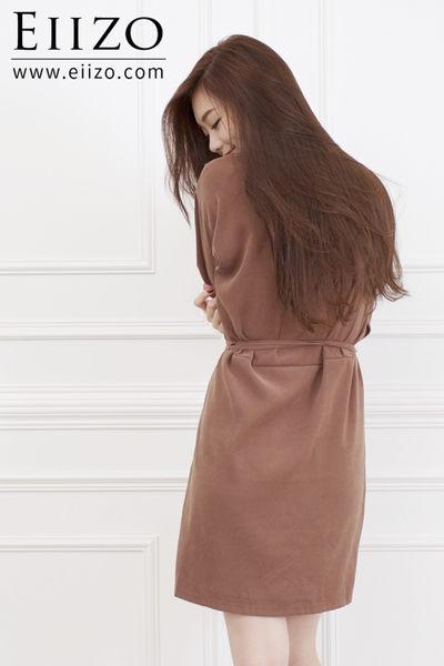 【EIIZO】簡約綁帶寬鬆棉質洋裝(黑)