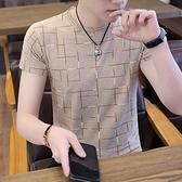 男士短袖t恤冰蠶絲冰絲2021新款潮牌潮流夏季丅體恤修身男裝上衣【快速出貨】
