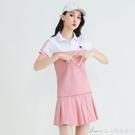運動套裝網球裙運動套裝女夏新款短袖羽毛球服純棉寬鬆休閒短裙兩件套