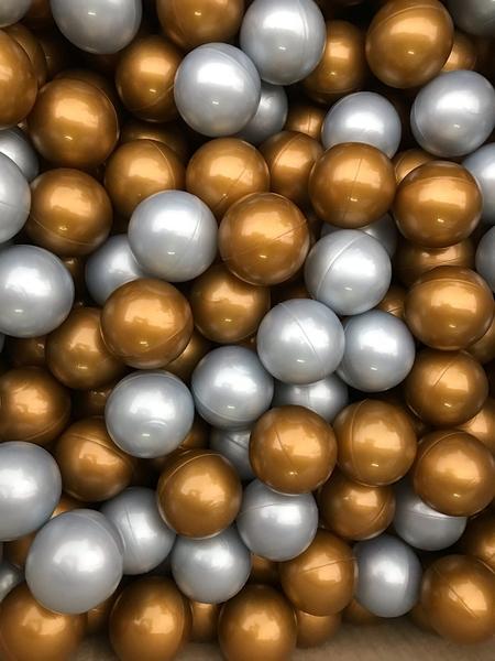 台灣製~外銷限定~金銀富貴雙色遊戲彩球 (球屋、球池專用)~100球賣場~限量海洋球(波波球)~幼之圓~