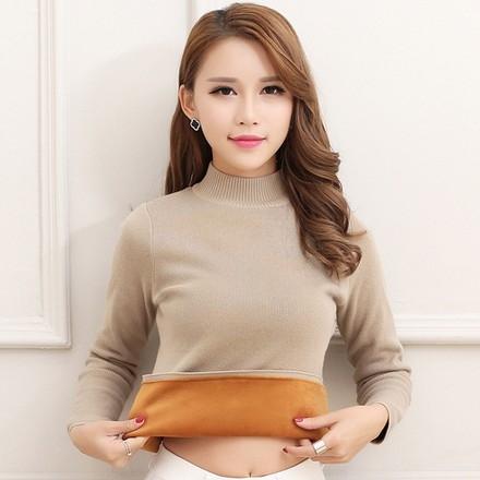 EASON SHOP(GU8994)實拍純色刷毛加厚加絨高領毛衣長袖上衣羅紋針織女上衣服修身內搭衫短版黑色白色