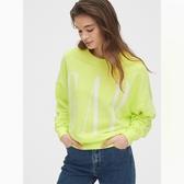 Gap女裝棉質舒適Logo圓領套頭休閒上衣544856-活力螢光綠