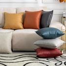 簡約北歐純色科技布仿皮靠墊沙發抱枕汽車靠墊辦公室護腰墊可定制 NMS蘿莉新品