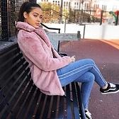 牛仔褲-側邊條紋中腰藍色丹寧女小腳褲73wx22[巴黎精品]