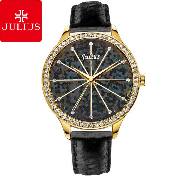 JULIUS 聚利時 璀璨萬花筒水鑽皮帶腕錶-黑色/38mm 【JA-791D】