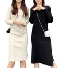EASON SHOP(GW8523)韓版秋薄款小V領長袖連身裙女過膝素色洋裝中長版黑色彈力貼身包臀針織裙