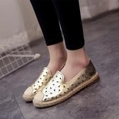 韓版網紗女平底淺口單鞋透氣鏤空懶人鞋蕾絲 快速出貨