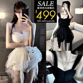 克妹Ke-Mei【ZT61307】秋`傭懶女神風併接飄逸網紗假二件小洋裝