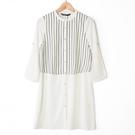 【MASTINA】直條紋拼接襯衫洋裝-白