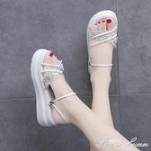 兩穿涼鞋2021年新款女夏季學生松糕厚底時尚仙女風超火時裝涼拖鞋 范思蓮恩