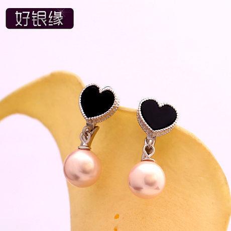 高貴氣質銀耳環貝珠珍珠 時尚