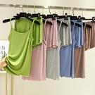 莫代爾套裝 莫代爾吊帶背心女夏季薄大碼寬鬆睡衣兩件套短褲冰絲居家休閒套裝 小天使 99免運