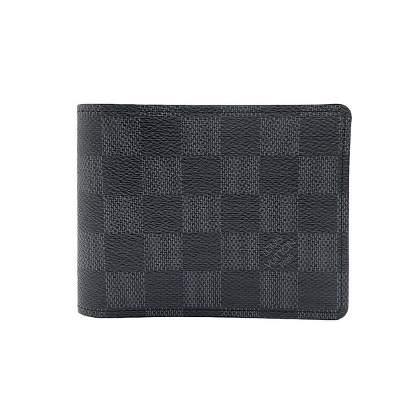 【台中米蘭站】全新品 Louis Vuitton Damier Graphite帆布 MULTIPLE 對折短夾(N62663-黑灰)