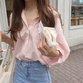 梨卡 - 秋冬氣質甜美純色V領慵懶寬鬆舒適條紋線條襯衫上衣/2色BR118