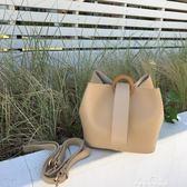百搭子母包圓扣手提包PU皮單肩斜背包水桶包女『夢娜麗莎精品館』