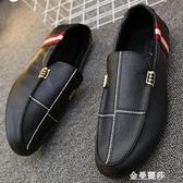 夏季鞋子男士韓版潮流休閒鞋皮鞋一腳蹬懶人鞋百搭豆豆鞋英倫男鞋 雙十二全館免運