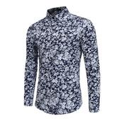 長袖襯衫-印花時尚花色花卉圖案男上衣2色73po16【巴黎精品】
