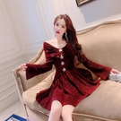 小禮服 法式性感裙子女2020春冬新款名媛氣質長袖打底裙洋氣網紗連衣裙