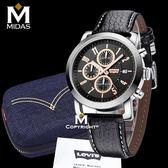 LEVIS 男錶 三眼錶 計時運動錶 石英錶 真皮錶帶 50米防水錶 Levi's 男手錶 經典盒裝/金/43mm