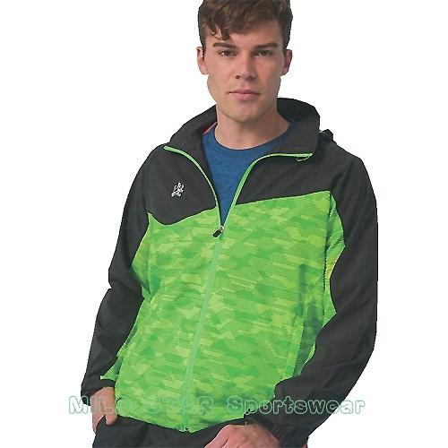MILD STAR 男女平織網裡運動服套裝[全套]#JS180408+PS900408-螢黃印花