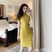 優雅復古連身裙女裝新款修身百搭中長款短袖包臀A字短裙子 新年钜惠