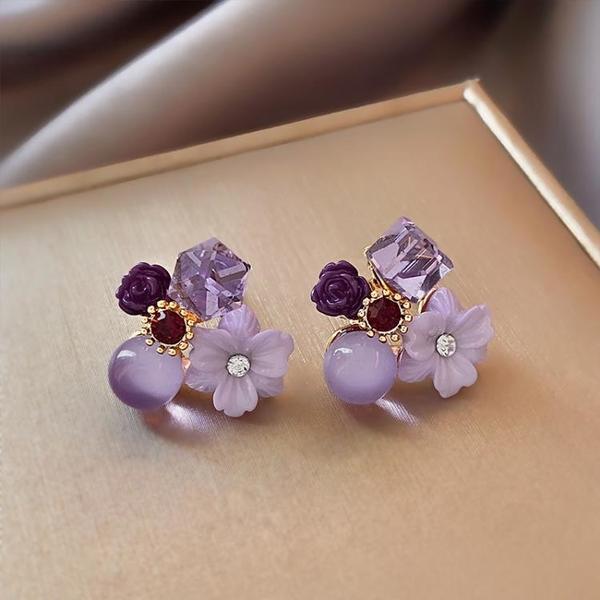 復古紫色水晶花朵耳環女夏2021年新款潮小眾設計耳飾氣質溫柔耳釘