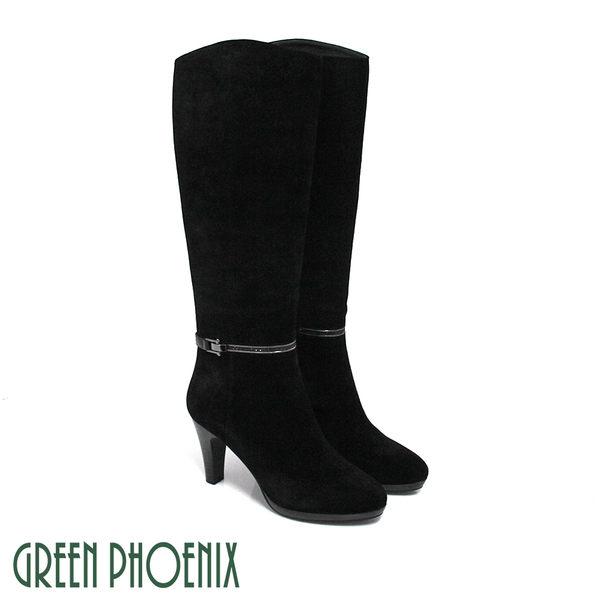 U35-22358 女款全真皮高跟長靴  時髦雅緻金屬皮扣水鑽繞踝牛麂皮高跟長靴【GREEN PHOENIX】
