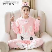 睡衣  加厚珊瑚絨棉睡衣女秋冬款卡通可愛學生韓版法蘭絨大碼家居服套裝 繽紛創意家居